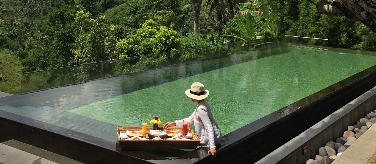 Floating Breakfast Experience at Awana Pool and Lounge overlooking valley view at Kamandalu Ubud, Bali