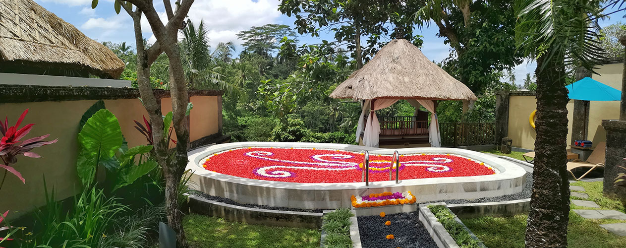 Flower Pool Experience at own private pool villa of Kamandalu Ubude