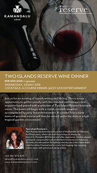Two Islands Reserve Wine Dinner on 23 May 2018